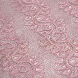 achat Tissu guipure rose vieilli motif bandes vagues fleuris - pretty mercerie - mercerie en ligne