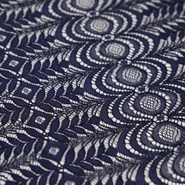 achat Tissu guipure bleu marine folk flower - pretty mercerie - mercerie en ligne