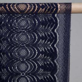 Tissu dentelle bleu marine folk flower - pretty mercerie - mercerie en ligne