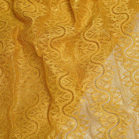 achat Tissu guipure jaune mimosa motif bandes vagues fleuris - pretty mercerie - mercerie en ligne
