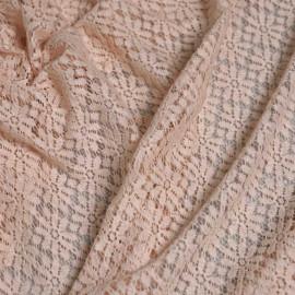 Tissu guipure nude motif fleurs paquerettes  x 10cm