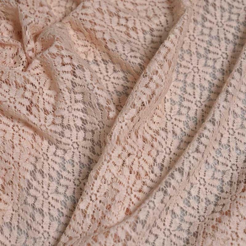 tissu dentelle nude motif fleurs paquerettes  - pretty mercerie - mercerie en ligne