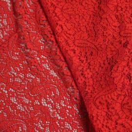 Tissu dentelle rouge poppy motif folk paisley  x 10cm
