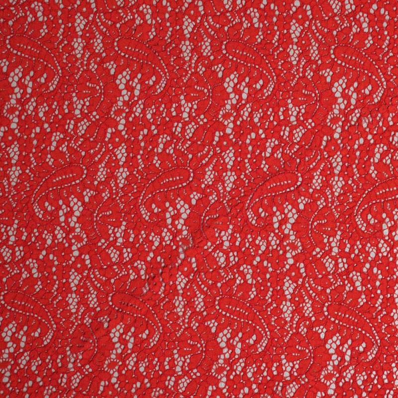 achat Tissu dentelle rouge poppy motif folk paisley  - pretty mercerie - mercerie en ligne