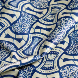 Tissu coton motif africain bleu x 10cm