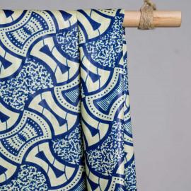 achat Tissu coton motif africain bleu - pretty mercerie - mercerie en ligne
