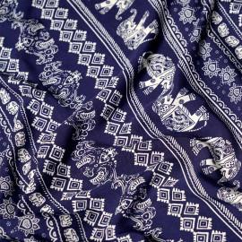 Tissu coton motif éléphant bleu et blanc cassé x 10cm