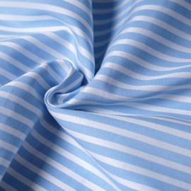 tissu coton tissé rayé bleu ciel et blanc x 10cm