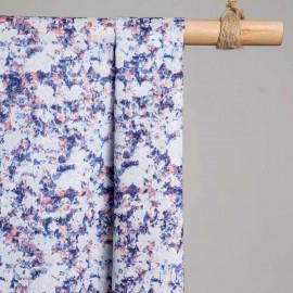 achat Tissu coton blanc motif absrait violet, corail et bleu ciel  - pretty mercerie - mercerie en ligne