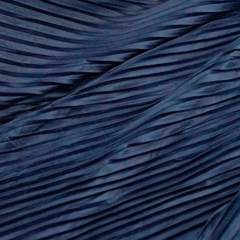 achat tissu su dine pliss e bleu fonc pour couture. Black Bedroom Furniture Sets. Home Design Ideas