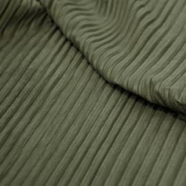 Tissu suédine plissée kaki x 10cm