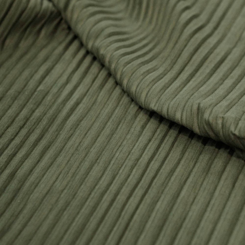 achat tissu su dine pliss e vert kaki pour couture. Black Bedroom Furniture Sets. Home Design Ideas