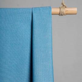 achat Tissu oxford chambray bleu canard et blanc  - pretty mercerie - mercerie en ligne