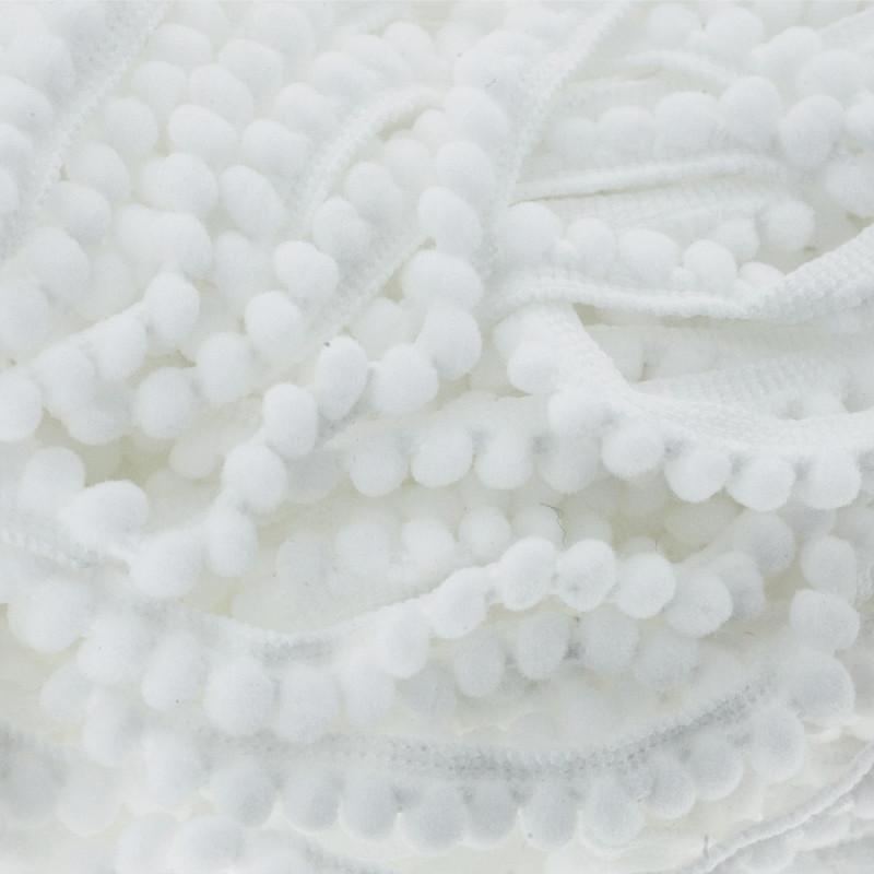Galon Mini pompons blanc