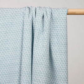 achat tissu coton imprimé marguerite vert  - pretty mercerie - mercerie en ligne