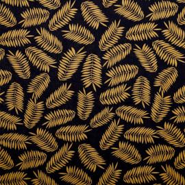 achat tissu viscose noir et ses feuilles camel  - pretty mercerie - mercerie en ligne