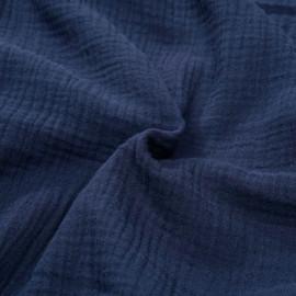 tissu double gaze de coton bleu nuit x 10 cm