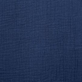 achat tissu double gaze de coton bleu nuit - pretty mercerie - mercerie en ligne