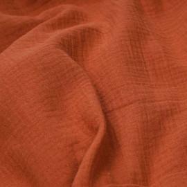 tissu double gaze de coton orange mecque x 10 cm