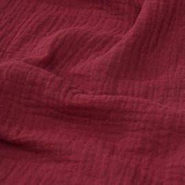 tissu double gaze de coton rouge grenat x 10 cm