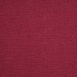 achat tissu double gaze de coton rouge grenat - pretty mercerie - mercerie en ligne