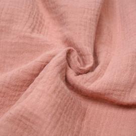 tissu double gaze de coton rose vieilli x 10 cm