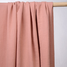 achat tissu double gaze de coton rose vieilli - pretty mercerie - mercerie en ligne