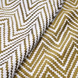 achat tissu jacquard réversible blanc et or motif tissé chevron - pretty mercerie - mercerie en ligne