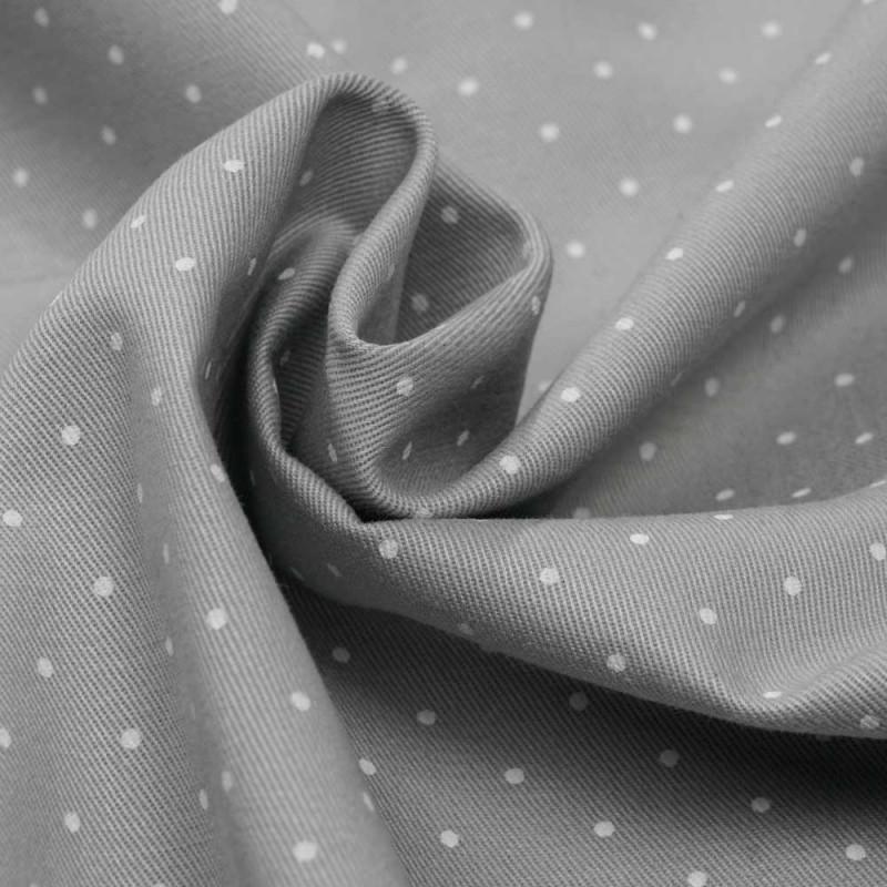 achat tissu gabardine gris clair à petits pois blanc - pretty mercerie - mercerie en ligne