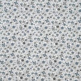 achat tissu coton blanc à motif fleuri bleu et gris et noir - pretty mercerie - mercerie en ligne