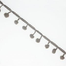 Galon Pompon gris souris