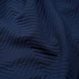 tissu jersey matelassé chevron bleu estate x 10cm