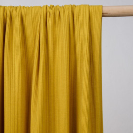 achat tissu jersey côtelé viscose moutarde - pretty mercerie - mercerie en ligne