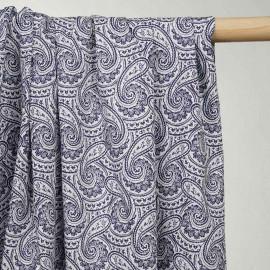 achat tissu coton blanc imprimé paisley bleu marine - pretty mercerie - mercerie en ligne