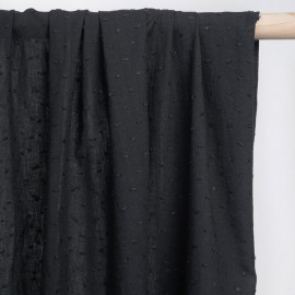 achat tissu coton plumetis noir - pretty mercerie - mercerie en ligne
