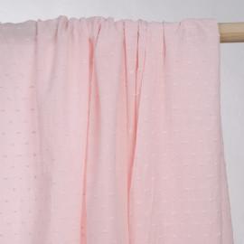 achat tissu coton plumetis rose barely  - pretty mercerie - mercerie en ligne