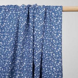 achat tissu coton bleu fédéral à motif fleuri   - pretty mercerie - mercerie en ligne