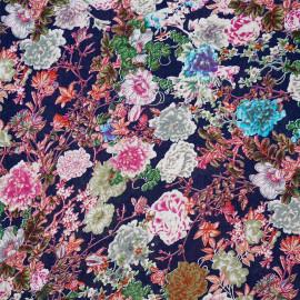 achat tissu coton à motif fleurs rhododendrons  - pretty mercerie - mercerie en ligne