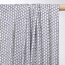 achat tissu blanc à motif bleu et beige  - pretty mercerie - mercerie en ligne