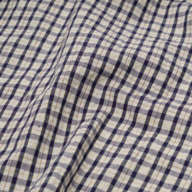 Tissu seersucker à carreaux bleu, jaune et ambre x 10cm