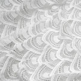 Tissu dentelle éventail blanc x 10cm
