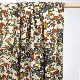 achat tissu viscose à motif rustic flowers - pretty mercerie -mercerie en ligne
