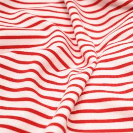 Tissu maille jersey rayé blanc & rouge x 10cm