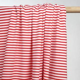 achat tissu maille jersey rayé blanc & rouge