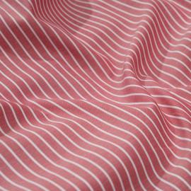 Tissu coton tissé rayé rouge et blanc x 10cm
