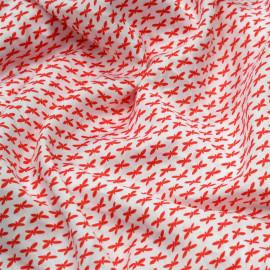 Tissu coton blanc à motif papillons rouge x 10cm