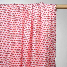 achat tissu coton blanc à motif papillons rouge - pretty mercerie - mercerie en ligne
