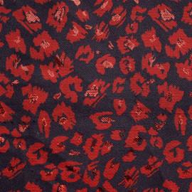 achat tissu jacquard bleu nuit tâches rouge foncé et lurex rouge - pretty mercerie - mercerie en ligne