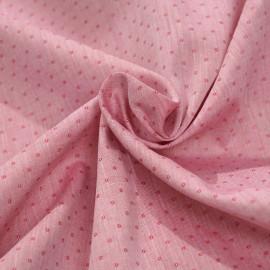 Tissu coton tissé rouge framboise à pois x 10cm