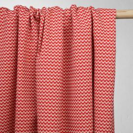 achat tissu jacquard graphique rouge et beige - pretty mercerie - mercerie en ligne